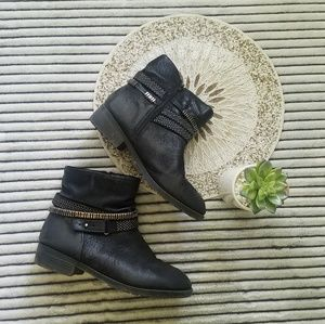 Lane Bryant Black Leather Ankle Boots Size 11W